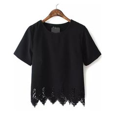 SheIn(sheinside) Black Short Sleeve Lace Hem Chiffon T-Shirt (€14) ❤ liked on Polyvore featuring tops, t-shirts, black, embellished t shirts, embellished tops, lace embellished top, lace top and lace tee