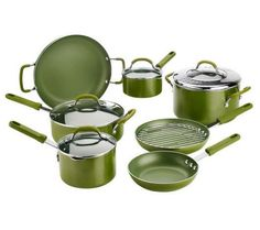 CooksEssentials 12-piece Cookware Set w/ Color Smart Nonstick (Green) #CooksEssentials