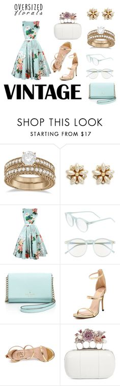 """Vintage floral"" by moonshine-angel ❤ liked on Polyvore featuring Allurez, Miriam Haskell, Wildfox, Kate Spade, Alexander McQueen, vintage, Pink and Flowers"