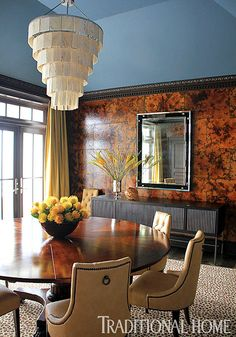 Love the tortoise shell wall covering.