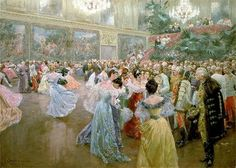 Aristocrats gathering around Emperor Franz Joseph at a ball in the Hofburg Imperial Palace, painting by Wilhelm Gause (1900).