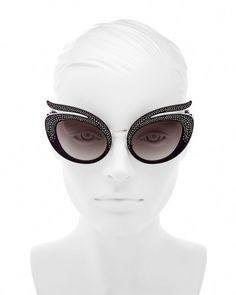 a62c73193bc9 Miu Miu Embellished Cat Eye Sunglasses, 55mm #MiuMiu 고양이 눈 선글라스, 수정,