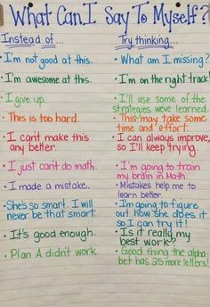 Great options for choosing your words to support a growth mindset!