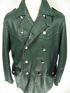 vtg 1950s green EURO military POLICE pea coat double breasted LEATHER jacket 44