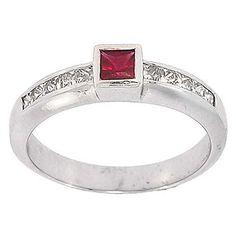 0.70Ct Certified Princess Diamond Ruby Cocktail Ring Wedding Band 14K White Gold #Cocktail #Ring #Wedding #Band #Diamonds #Ruby #14K #White #Gold #Christmas #Gift