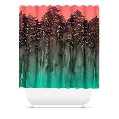 FOREST Through The TREES Green Coral Peach Black Ombre Shower Curtain by EbiEmporium, #showercurtain #shower #bathroom #nature #trees #hipster #homedecor #ombre #colorful #moderndecor #ebiemporium