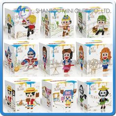 Mini Qute Lele Brother 3 in 1 Kawaii Anime one piece Chopper Luffy plastic building block cartoon figures model educational toy