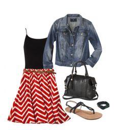 Red Chevron Skirt + Denim