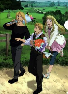 Fullmetal Alchemist: Winry Rockbell, Edward Elric, Alphonse Elric off to see the parents.>>> has anyone noticed winry is wearing ed's jacket? Fullmetal Alchemist Brotherhood, Fullmetal Alchemist Mustang, Fullmetal Alchemist Alphonse, Alphonse Elric, Full Metal Alchemist, Winry And Edward, Ed And Winry, I Love Anime, Awesome Anime