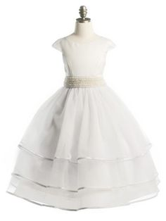 White Gorgeous Satin and Tulle with Pearl Sash Girl Communion Dress (Girls Sizes 2-20 in 2 Colors)