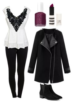 """Winter date"" by lewiskate-1 on Polyvore featuring Pieces, MANGO, Essie and Topshop"