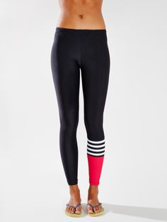 Salt Gypsy Striped Panel Surf Legging - available at Urban Outfitters' activewear store: www.withoutwalls.com A bit of razz for the lineup and better than melanoma. #saltgypsy #surfleggings #styleinthelineup