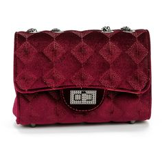 SheIn(sheinside) Twist Lock Quilted Velvet Chain Bag ($12) ❤ liked on Polyvore featuring bags, handbags, shoulder bags, burgundy, quilted chain shoulder bag, red cross body handbags, quilted crossbody, crossbody shoulder bag and red cross body purse