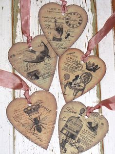 Set of 5 Vintage Heart VALENTINE Tags Ornaments by JanieDMattern, $10.00