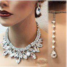 Bridal jewelry set, Bridal back drop bib Crystal necklace earrings, vintage look