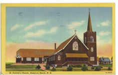 Church in Hampton Beach, N.H.  Nice postcard from United States. Original, not reprint. Contact us for price. Linen Period. 1948.