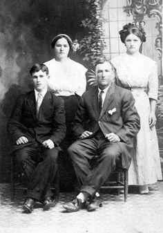 Bessie, Emma, Joe Mazac, boyfriend of Bessie (on left) Anton Janacek, Granger, Texas, c. 1918