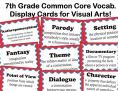 The smARTteacher Resource: Common Core Language Arts Vocabulary for Visual Arts for Grade Common Core Vocabulary, Common Core Language Arts, Teaching Language Arts, Common Core Standards, Teaching Vocabulary, Teaching Art, Teaching Ideas, Esl, 7th Grade Ela