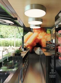 Inside Fish and Chips Restaurant 20' Shipping Container Modified with Kitchen Commerce Use.