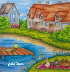 Julie Bouve with a video tutorial coloring Romantic Country: A Fantasy Coloring Book Paperback  by Eriy (Author, Illustrator); June 2016  #juliebouve #romanticcountry #eriy