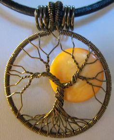 Autumn Full Moon Tree of Life Pendant by Mariesinspiredwire, $25.00