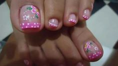 Pink French tip pedi Pedicure Designs, Pedicure Nail Art, Toe Nail Designs, Toe Nail Art, Fabulous Nails, Perfect Nails, Gorgeous Nails, Feet Nails, Toenails
