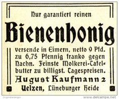 Original-Werbung/ Anzeige 1905 - BIENENHONIG / AUGUST KAUFMANN - UELZEN - ca. 45 x 40 mm