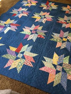 "Like the dark blue background on this quilt. From book ""Scrap Basket Beauties"" by That Patchwork Place Star Quilt Blocks, Strip Quilts, Quilt Block Patterns, Jellyroll Quilts, Scrappy Quilts, Mini Quilts, Quilt Baby, Quilting Designs, Quilting Projects"