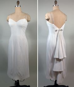 1950s White Rayon Cocktail Party Dress with Fancy Back