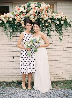 polka dot bridesmaid dress - photo by Heather Hester http://ruffledblog.com/ruffled_galleries/memphis-garden-wedding/005090-r1-002/