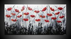 XXL Abstract Acrylic Painting on large canvas Art Deco Black White Grey Red Poppies Flower Modern Ready to Hang FREE SHIPPING 55 x 28. $549.00, via Etsy.