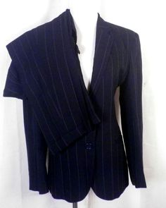 euc Ralph Lauren ladies Black Chalkstripe Rayon Blend 2 Pc Pants Suit career 6