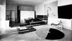 Photograph of the living living space of Eileen Gray's villa E.1027 - http://www.architecture.com/Explore/Revealingthecollections/VillaE10271929.aspx