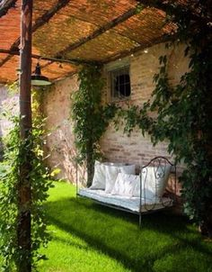 A pergola is a great way to enjoy outdoor spaces, and we found some pergola designs with roof so that you can enjoy yours all year round. Outdoor Rooms, Outdoor Gardens, Outdoor Living, Outdoor Decor, Outdoor Seating, Garden Seating, Outdoor Cafe, Garden Chairs, Design Jardin