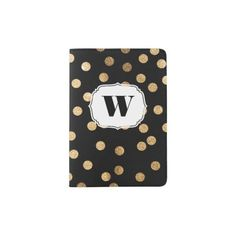 Black White Gold Glitter Monogram Passport Cover Passport Holder // As you circumnavigate the globe, keep your most important travel document stylish, shiny, and new with a custom passport holder - Perfect Gift for a Traveller! | Curated by The Travel Tester on Zazzle: