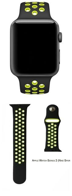 IYELLOW Soft Silicone Sports Replacement with Ventilation Holes Nike Sport Band for 2016 New Apple Series 2 Sport Watch iWatch -- Black / Volt Yellow) Apple Watch Nike, Gold Apple Watch, Apple Watch Iphone, Iphone Stand, Macbook 13, Bandy, Apple Watch Series 2, Quartz Watch, Watch Bands