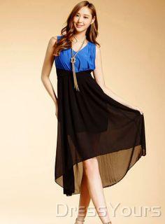 US$15.99 Fashion Split Joint Round Neckline Sleeveless Dress. #High-Low #Round #Sleeveless #Dress