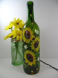 Painted Bottles With Lights Inside | Lighted Wine Bottle Sunflowers Green Hand by PaintingByElaine