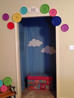 Used our hallway nook to create a lalaloopsy photo booth complete with a trunk filled with lalaloopsy costumes and wigs! Lots of fun!