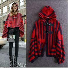 Find More Trench Information about HIGH QUALITY Red Hooded Long Batwing Sleeves Striped Puncho Wool Jacket Sweater 2014 Autumn Winter Cape Jacket ,High Quality jackets snow,China jacket denim Suppliers, Cheap jacket biker from Top Fashion Wear on Aliexpress.com