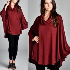 1 HR SALETENIAH cowl neck poncho top -BURGUNDY Also available in charcoal. Super soft & perfect for fall. 65% poly, 32% rayon, 3% spandex. NO TRADE, PRICE FIRM Tops