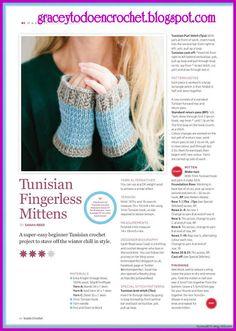 Tunisian fingerless mittens!  ***  Manoplas sin dedos tunecinos!