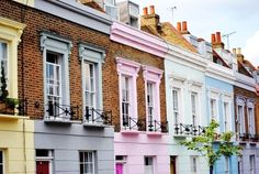 Gorgeously, cheerfully pastel candy hued houses.