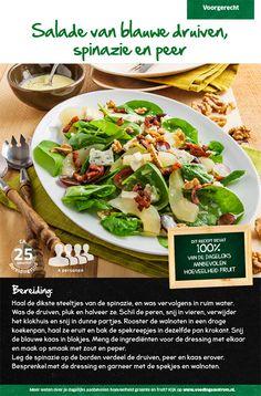 Recept voor een salade van blauwe druiven, spinazie en peer #Lidl Dukan Diet Recipes, Healthy Recipes, Lidl, Bbq, Healthy Food Choices, High Tea, Salad Recipes, Side Dishes, Salads