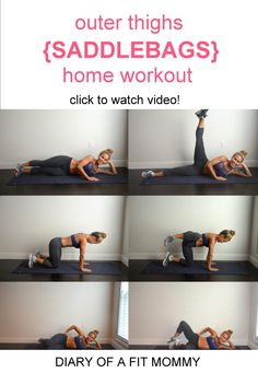 7 Moves to Get Rid of Saddlebags {Outer Thighs} - Diary of a Fit Mommy 7 moves to work your outer thighs at home. I love this workout for thigh fat jiggle. It has been 2 Mommy Workout, Hip Workout, Pregnancy Workout, Workout Schedule, Workout Plans, Outer Thigh Fat, Thigh Toning Exercises, Belly Exercises, Outer Thigh Workouts