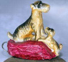 ANTIQUE c1920~~DOG & PUPPY ON CUSHION TAPE MEASURE