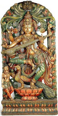 "Saraswati Dancing - South Indian Temple Wood Carving  48.0"" X 24.0"" X 6.0"""