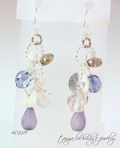 Florentine Sterling Silver & Sea Glass Czech Glass Drop Earrings