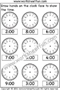 Time – Draw hands on the clock face – 3 Worksheets