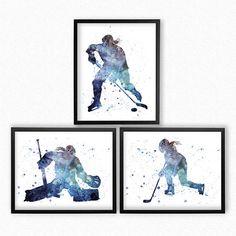 Hockey Girls watercolor art Set of 3 printable wall art